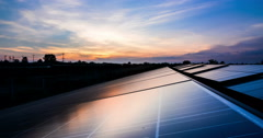 Timelaps of solar cell panel with sunrise and sunset Stock Footage