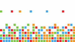 Falling colorful squares making a few rows with free space on the top - stock footage