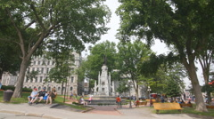 Place d'Armes park in Quebec City, Quebec, Canada. Stock Footage