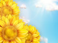 Sunflower with blue sky - autumn. EPS 10 Piirros