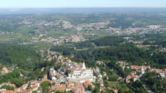 Overlooking the historic town of Sintra Stock Footage