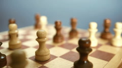 Game of chess. Pawns on the chessboard Stock Footage