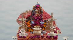 Small shrine on Ganges ghat,Varanasi,India - stock footage