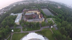 Kronstadt Naval Cathedral with height of bird's flight Stock Footage