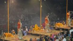 Priest evening puja with inscence sticks,Varanasi,India Stock Footage