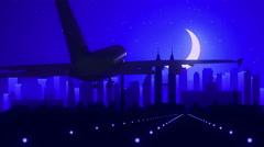 Kuala Lumpur Malaysia Blue Airplane Landing Skyline Midnight Background - stock footage