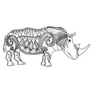 Drawing zentangle inspired rhino for coloring page, shirt design effect, logo - stock illustration