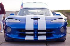 Kyiv, Ukraine - 23 APRIL, 2016: Blue Dodge Viper on exhibition of old cars - Stock Photos