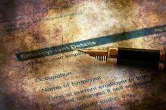 Employment application grunge concept - stock illustration