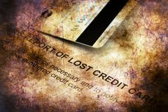 Report of lost credit card grunge concept - stock illustration