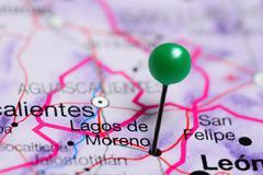 Lagos de Moreno pinned on a map of Mexico Stock Photos