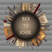 Back to School Title Texts with Items in a Circle for Poster Design Stock Illustration
