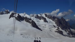 Long way cable from Aiguille du Midi Stock Footage