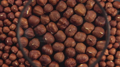 Hazelnuts and a magnifying glass Stock Footage