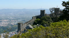 The wall and towers from castle of the Moors Stock Footage