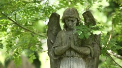 Praying Angel on a cemetery in England Stock Footage