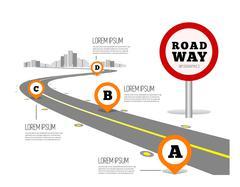 Road way design infographics. - stock illustration
