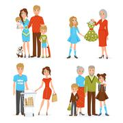 Big Family Icons Set - stock illustration