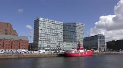Dockside quayside Liverpool moving traffic Albert Dock Stock Footage