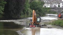 Dredging river digger grab movement Stock Footage