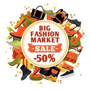Fashion Footwear Sale - stock illustration