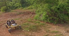 Aerial view UTV off road four wheel drive on the mountain Stock Footage