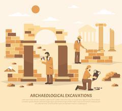 Archeology Excavation Illustration Stock Illustration