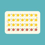 Strip of 28 Contraceptive Pill with English Instructions, flat design Stock Illustration