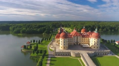 Aerial view of Moritzburg Castle in Saxony, Germany Stock Footage