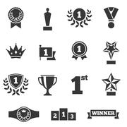 Awards icons set, silhouette flat design - stock illustration