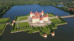 Moritzburg Castle, Germany. Beautiful aerial view at dusk Stock Footage