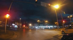 Nighttime hyperlapse moving timelapse on the streets of Plovdiv Stock Footage