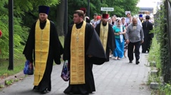 Religious procession parishioners Ukrainian Orthodox Church Moscow Patriarchate Stock Footage