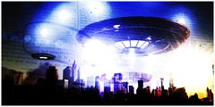 Unidentified flying objects over a famous city Stock Illustration