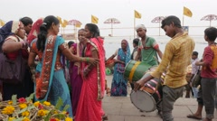 Ceremony with drums on ghats,Varanasi,India Stock Footage