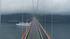 Aerial Shot of Suspension Bridge Hardanger in Norway. Weather is Foggy and Cloud Stock Footage