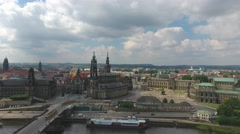 Aerial view of Dresden with medieval buildings and river Stock Footage