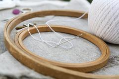 Set for embroidery, garment needle and embroidery hoop Stock Photos