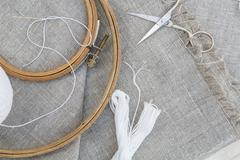 Set for embroidery, garment needle, thread, scissors and embroidery hoop Stock Photos