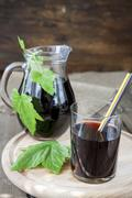 Glass and jug with fresh Black Currant juice decoration fresh currant leaves Stock Photos