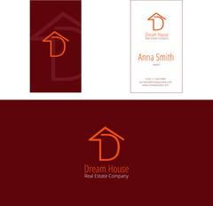 D dream house real estate company vector logo and corporate business card Piirros