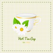 Vector tea cup close up with white daisy Stock Illustration