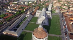 Going down from the sky with Square of Miracles view – Pisa Stock Footage