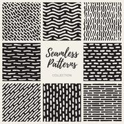 Vector Seamless Hand Drawn Lines Patterns Collection - stock illustration