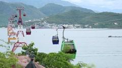 The longest ropeway between the Islands Stock Footage