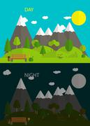 Beautiful nature. Day and night in Modern Flat Design Vector Ill Stock Illustration