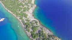 Ancient Gemiler Island Aerial View Stock Footage