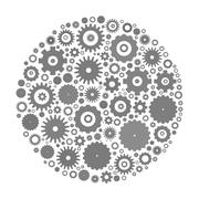 Cog wheels arranged in circle - stock illustration