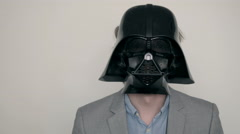 Funny young man with mask from star wars, freak business concept Stock Footage