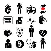 Heart disease, heart attack, Cardiovascular disease icons set Stock Illustration